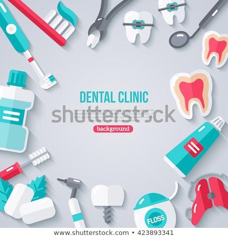 ベクトル 歯の手入れ セット 要素 血液 薬 ストックフォト © RamonaKaulitzki