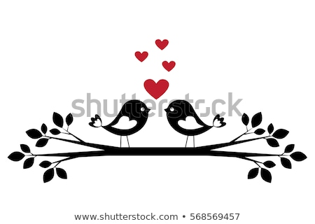 birds on tree with red hearts, vector Stock photo © beaubelle
