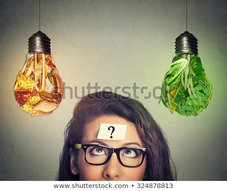 Lampadina cervello illustrato luce verde Foto d'archivio © kistrialos