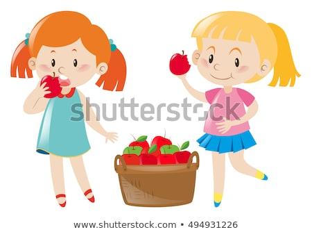 Foto d'archivio: Studente · ragazza · mangiare · mela · bella · felice