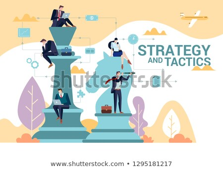 Business people playing chess at office. Business strategy conce Stock photo © HASLOO