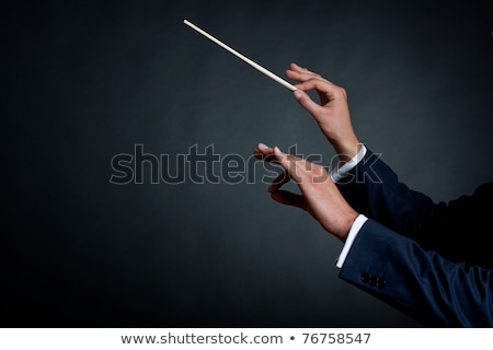 Closeup portrait of male orchestra conductor directing with his  Stock photo © HASLOO