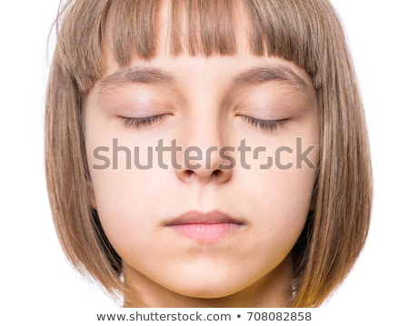 Close up portrait of adorable girl with eyes closed Stock photo © dash