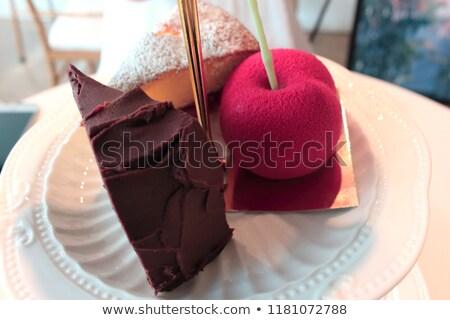 Wiśniowe sernik popołudnie plaster mięty dekorować Zdjęcia stock © dehooks