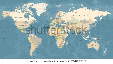 Blue Detailed Vector World Map Stock photo © hunthomas