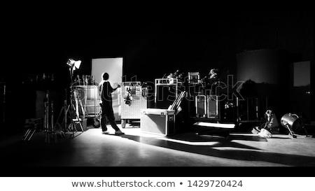 Equipamentos de iluminação conjunto quatro profissional silhuetas preto Foto stock © HypnoCreative