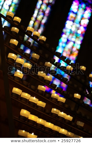 Notre Dame Prayer Candles & Stained Glass Stock photo © chris2k