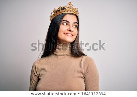 Kobieta princess korony portret niebieski Zdjęcia stock © chesterf