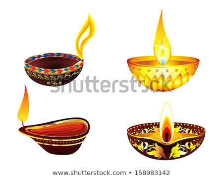 abstrato · diwali · conjunto · vetor · luz · lâmpada - foto stock © pathakdesigner