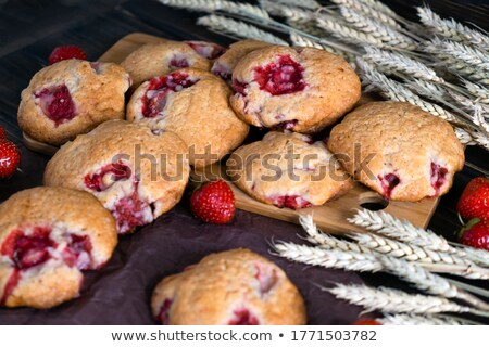 Сток-фото: клубника · Cookies · пластина · продовольствие · фон