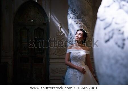 megnyerő · fiatal · menyasszony · esküvői · ruha · nő · divat - stock fotó © konradbak