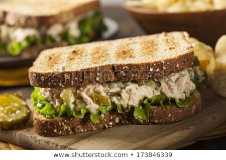 tonhal · szendvics · sültkrumpli · cheddar · sajt · burgonyaszirom - stock fotó © tab62