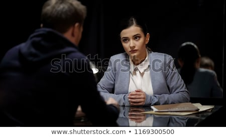 Woman police office in dark room Stock photo © Elnur