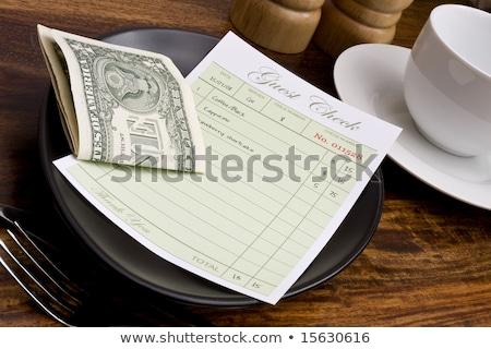 Invitado comprobar dólar restaurante verde Foto stock © devon