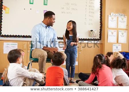 Stock fotó: Tanár · beszél · osztály · áll · tábla · iskola