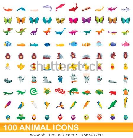 Foto stock: 100 · animais · cem · preto · silhuetas · diferente