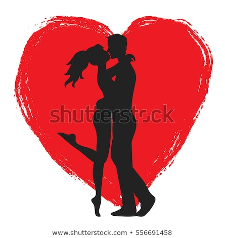 Kissing Couple vector illustration Stock photo © leonido