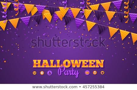 Halloween Party Flyer with creepy colorful elements  Stock photo © DavidArts