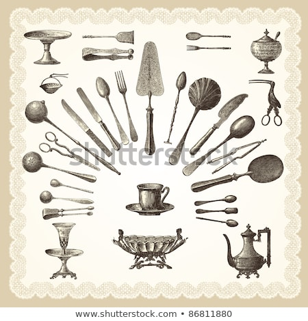 picture of the cutlery in the old kicthen stock photo © majdansky