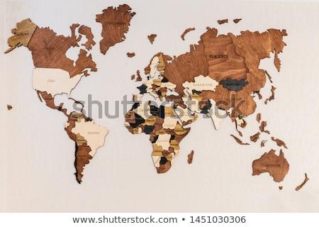 Mappa del mondo wood texture legno bianco nero grafica Foto d'archivio © olgaaltunina