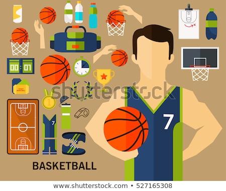 улыбаясь · спортивных · женщину · баскетбол · мяча - Сток-фото © andreypopov