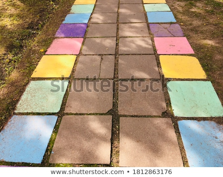 concrete slabs paving brown in the form square of different geometric shapes stock photo © tashatuvango