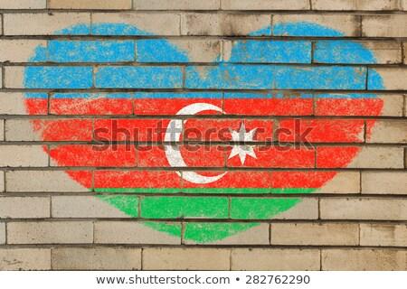 Forma de corazón bandera Azerbaiyán pared de ladrillo corazón Foto stock © vepar5
