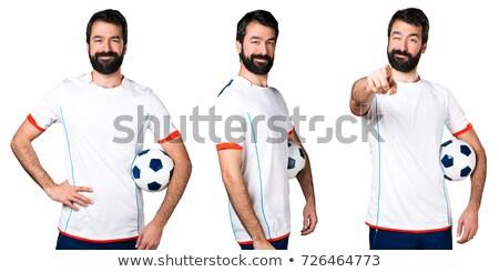 Guapo futbolista pelota aislado blanco Foto stock © deandrobot