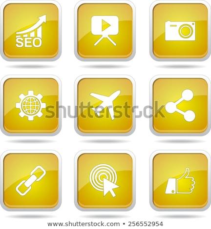 Stock fotó: Seo · internet · felirat · citromsárga · vektor · gomb