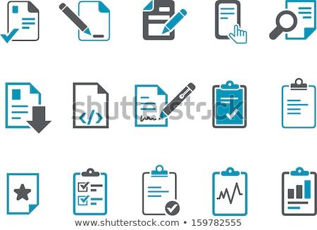 Kék toll ikon felirat ír szín Stock fotó © Bunyakina_Nady