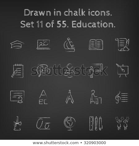 hoogleraar · Blackboard · icon · krijt - stockfoto © rastudio