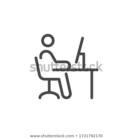 ビジネスマン 座って 事務椅子 ノートパソコン 肖像 ハンサム ストックフォト © deandrobot