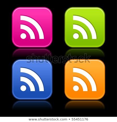 Rss teken roze vector knop icon Stockfoto © rizwanali3d