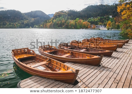 Stock photo: Wooden Tourist Boat on Shore of Bled Lake, Slovenia