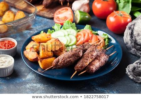 grillezett · hús · nyárs · szalonna · ropogós · zöldségek · étel - stock fotó © digifoodstock