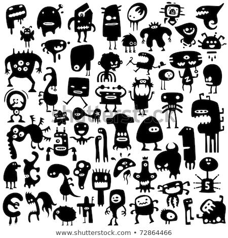 Vicces szörnyek sziluett gyűjtemény rajz sziluettek Stock fotó © Genestro