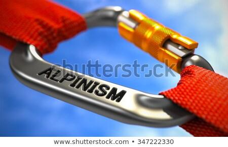 Chrome Carabiner Hook with Text Alpinism. Stock photo © tashatuvango