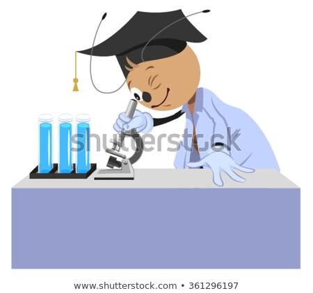Ant insegnante microscopio isolato bianco Foto d'archivio © orensila