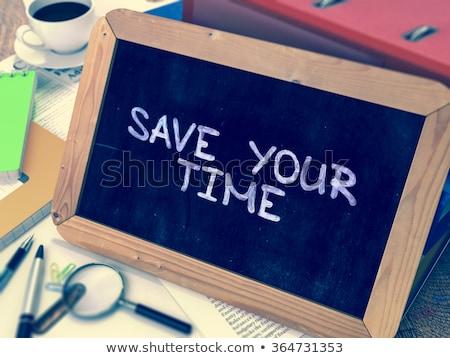 ストックフォト: 保存 · 時間 · 黒板 · 手描き · 文字 · スタック
