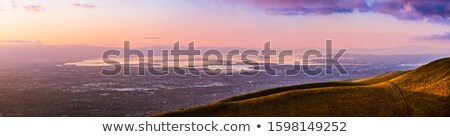 Aerial views of San Francisco South Bay at dusk from Fremont Older Open Space Preserve. stock photo © yhelfman