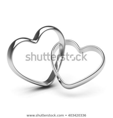 Ezüst szívek gyűrű 3d illusztráció konténer szeretet Stock fotó © lenm