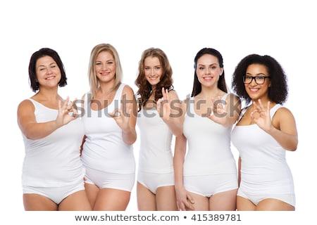 Плюс размер женщину белье вызывать рукой знак Сток-фото © dolgachov