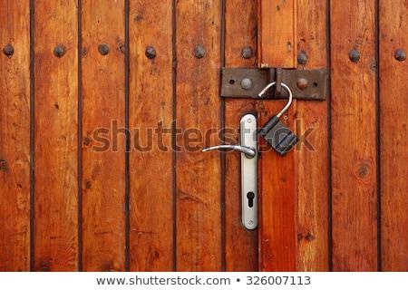 asma · kilit · çit · zincir · etrafında · siyah · güvenli - stok fotoğraf © smuki