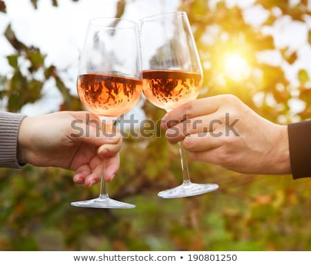 young man drink pink wine stock photo © filipw