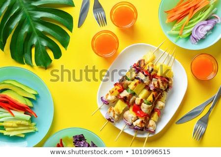 Chicken skewer and fresh pineapple Stock photo © Digifoodstock