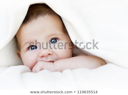 cute · pasgeboren · baby · deken · bed · kind - stockfoto © tommyandone