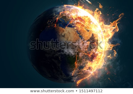 Föld világ földgömb tűz klímaváltozás globális felmelegedés Stock fotó © Krisdog