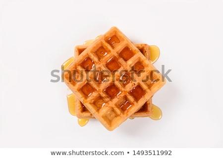 Alimentos delicioso gofre mesa desayuno postre Foto stock © racoolstudio