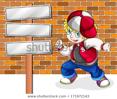 A young boy beside the empty wooden boards Stock photo © bluering