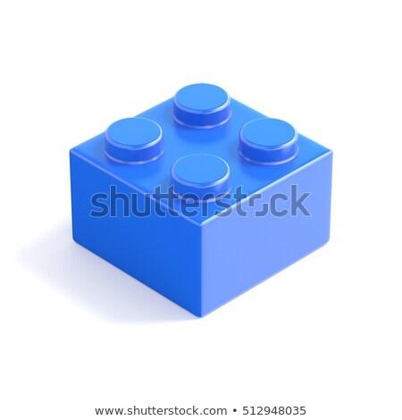 Blue plastic building block, children toy. Bottom view. 3D Stock photo © djmilic